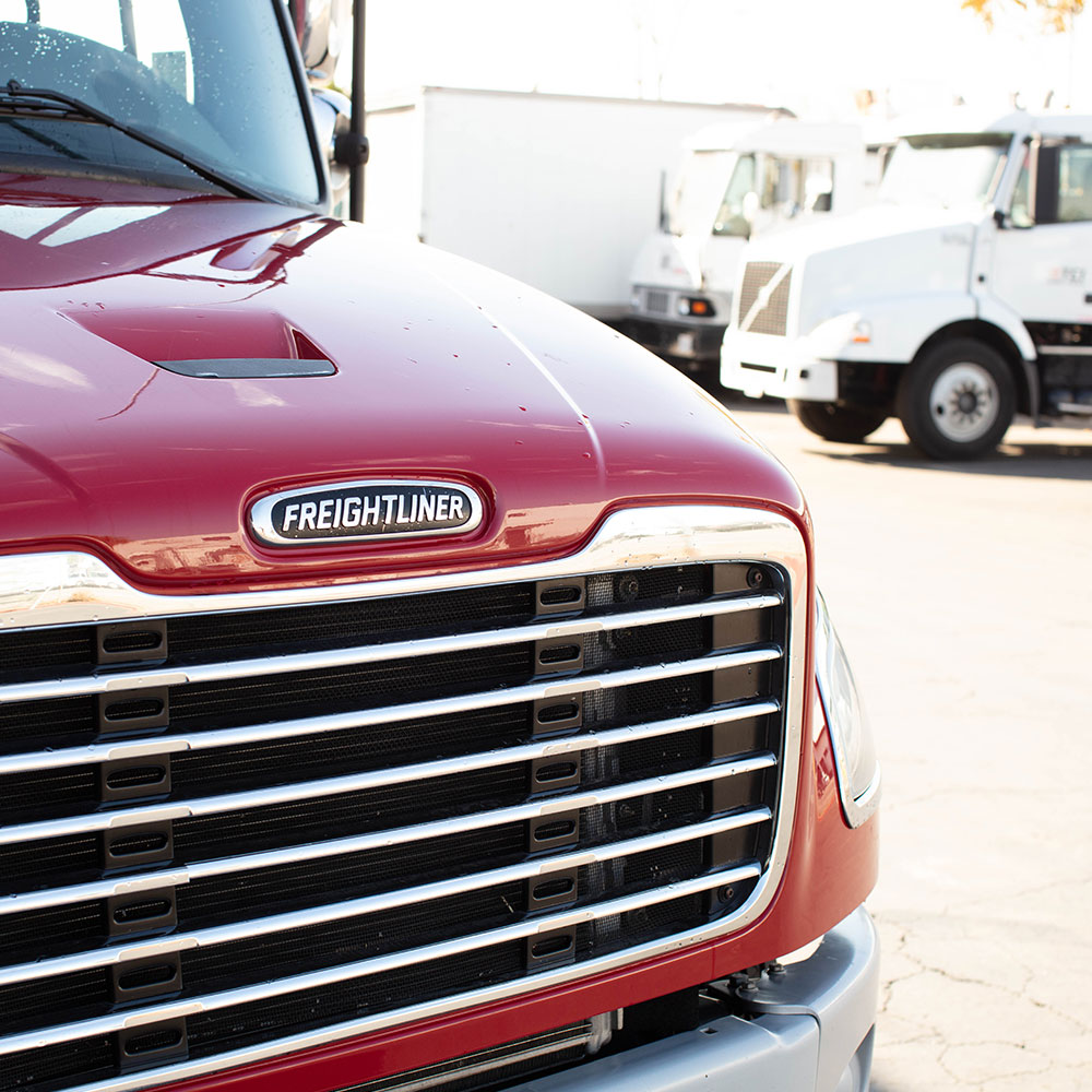 Front hood of red Freightliner